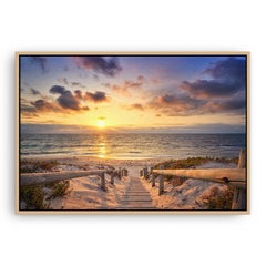 Beautiful golden sunset at North Beach in Perth, Western Australia framed canvas in raw oak