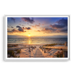Beautiful golden sunset at North Beach in Perth, Western Australia framed in white
