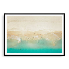 Aerial view of dogs playing in the ocean, Perth, Western Australia framed in black