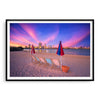 Deckchairs on the beach, overlooking Perth City at sunset in Western Australia framed in black