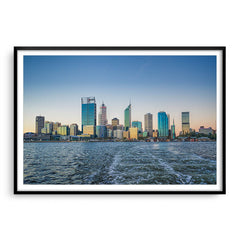 Perth City from a boat leaving Elizabeth Quay in Western Australia framed in black