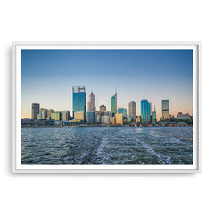Perth City from a boat leaving Elizabeth Quay in Western Australia framed in white