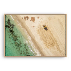 Castle Bay Digger framed canvas in raw oak