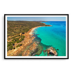 aerial view of gannet rock in western australia framed in black
