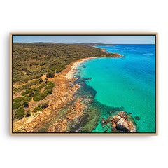 aerial view of gannet rock in western australia framed canvas in raw oak