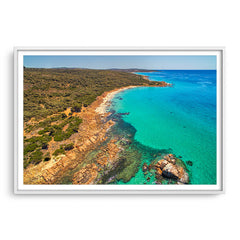aerial view of gannet rock in western australia framed in white