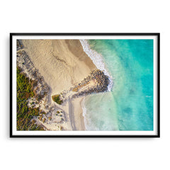 Aerial view of surfers at Sorrento Beach in Western Australia framed in black