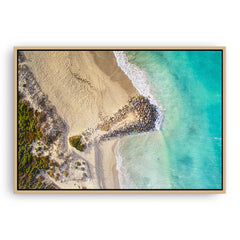 Aerial view of surfers at Sorrento Beach in Western Australia framed canvas in raw oak