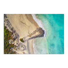 Aerial view of surfers at Sorrento Beach in Western Australia