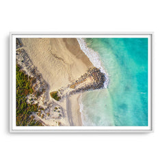 Aerial view of surfers at Sorrento Beach in Western Australia framed in white