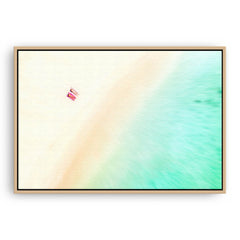 Aerial view of a South West beach in Western Australia framed canvas in raw oak
