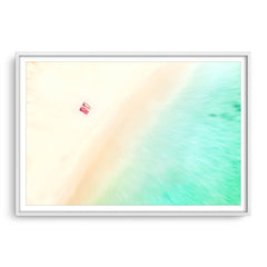 Aerial view of a South West beach in Western Australia framed in white