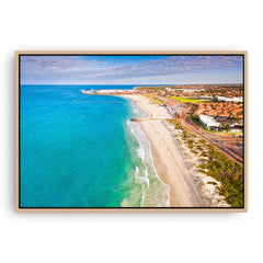 Sunrise over Sorrento Beach in Western Australia framed canvas in raw oak