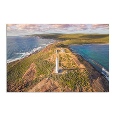 Aerial view of Cape Leeuwin Lighthouse at sunset
