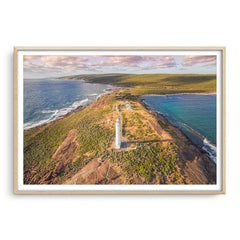 Aerial view of Cape Leeuwin Lighthouse at sunset framed in raw oak