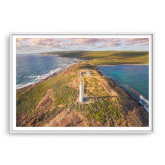 Aerial view of Cape Leeuwin Lighthouse at sunset framed in white