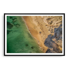 Aerial view of Hamelin Bay in Western Australia at sunset framed in black