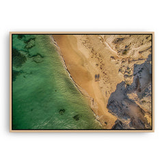 Aerial view of Hamelin Bay in Western Australia at sunset framed canvas in raw oak