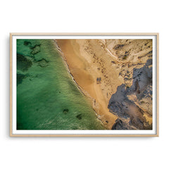 Aerial view of Hamelin Bay in Western Australia at sunset framed in raw oak