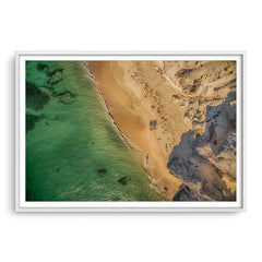 Aerial view of Hamelin Bay in Western Australia at sunset framed in white