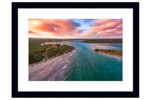 Aerial view of Blackwood River in Augusta, Western Australia framed in black