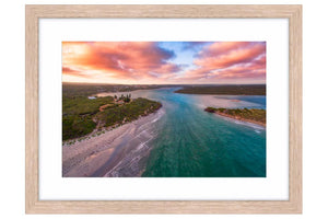 Aerial view of Blackwood River in Augusta, Western Australia framed in raw oak