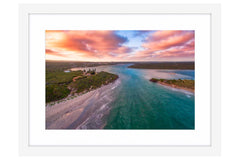 Aerial view of Blackwood River in Augusta, Western Australia framed in white