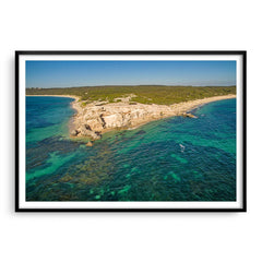 Aerial view of Hamelin Bay in Western Australia framed in black
