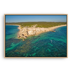 Aerial view of Hamelin Bay in Western Australia framed canvas in raw oak