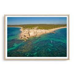 Aerial view of Hamelin Bay in Western Australia framed in raw oak