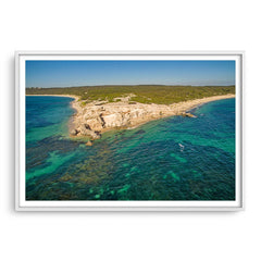 Aerial view of Hamelin Bay in Western Australia framed in white
