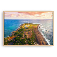 Cape Leeuwin Lighthouse in Western Australia framed canvas in raw oak