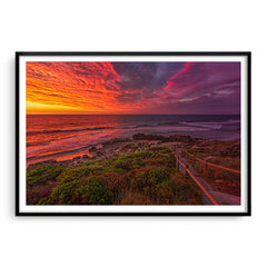 Colourful sunset at Bennion Beach in Perth, Western Australia framed in black