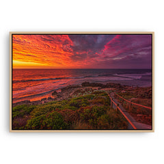 Colourful sunset at Bennion Beach in Perth, Western Australia framed canvas in raw oak