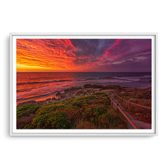 Colourful sunset at Bennion Beach in Perth, Western Australia framed in white