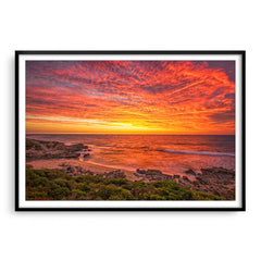 Incredible sunset over Bennion Beach in Perth, Western Australia framed in black