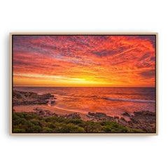 Incredible sunset over Bennion Beach in Perth, Western Australia framed canvas in raw oak