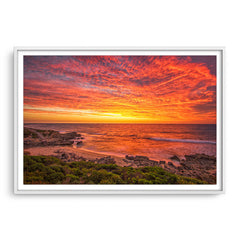 Incredible sunset over Bennion Beach in Perth, Western Australia framed in white