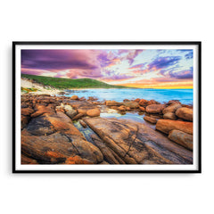 Sunrise over the beaches of Augusta in Western Australia framed in black