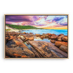 Sunrise over the beaches of Augusta in Western Australia framed canvas in raw oak