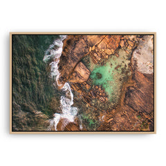 Aerial view of the rock pools at Cape Leeuwin in Western Australia framed canvas in raw oak