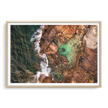 Aerial view of the rock pools at Cape Leeuwin in Western Australia