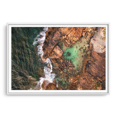 Aerial view of the rock pools at Cape Leeuwin in Western Australia framed in white