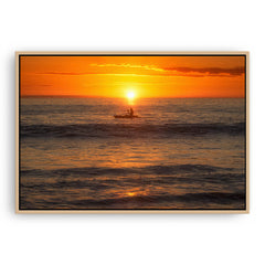 A warm, balmy night on the coast of Perth, Western Australia framed canvas in raw oak