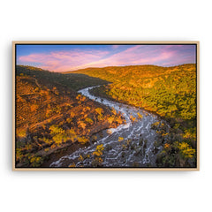 Aerial view of Bells Rapids in the Swan Valley of Western Australia framed canvas in raw oak