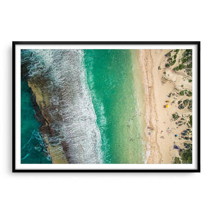 Aerial view Yanchep Lagoon in Western Australia framed in black