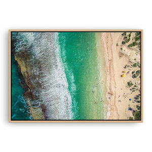 Aerial view Yanchep Lagoon in Western Australia framed canvas in raw oak