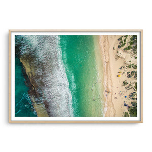 Aerial view Yanchep Lagoon in Western Australia framed in raw oak