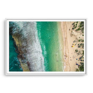 Aerial view Yanchep Lagoon in Western Australia framed in white