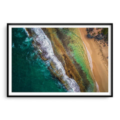 Aerial textures at Yanchep Lagoon, Western Australia framed in black